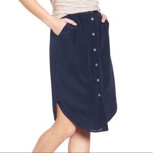 Madewell Silk Island Button Front Skirt